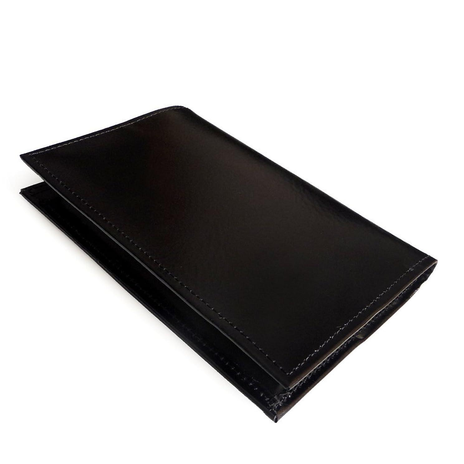 ミキサー不機嫌そうな高潔な国産かばん屋さんの手作りレザーブックカバー トールサイズ (ブラック)
