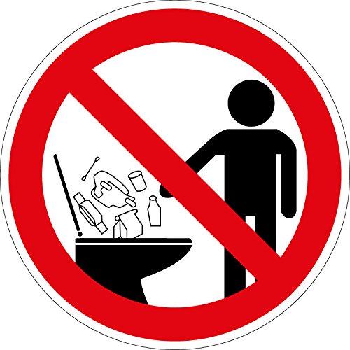 Verbotszeichen - Keine Hygieneartikel in die Toilette werfen - Selbstklebende Folie - Ø 10 cm