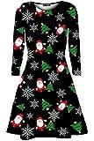 Be Jealous Damen Santa Standing Xmas Rentier Kopf Weihnachtsbaum Langarm Swing Mini Kleid