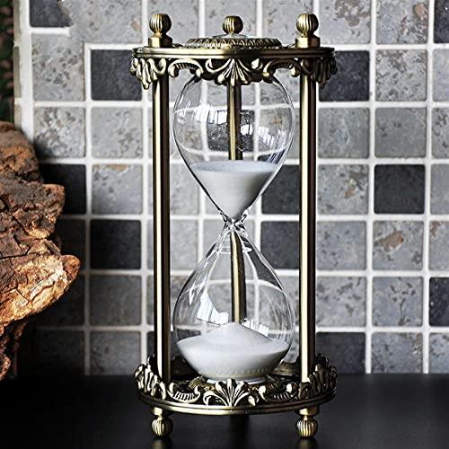 FHSMRING Temporizador de arena de 30 minutos con diamantes de imitación de oro vintage, para decoración de escritorio, Navidad, día de San Valentín, novio (color: reloj de arena de 30 min)