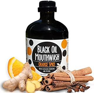 Black Oil Mouthwash, Sweet Orange Cinnamon Spice. Coconut + Sesame + Avocado Oil Super Blend, 15 oz Glass Bottle, Activated Charcoal & Xylitol for Oil Pulling. Whitening, dry mouth & remineralization