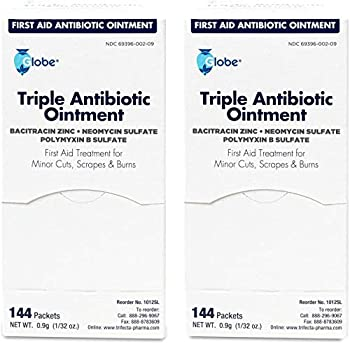 Triple Antibiotic First Aid Ointment 0.9gr Packets  Box of 144   2-Pack -Total 288 Packets  First Aid Antibiotic Ointment 24-Hour Infection Protection Treatment for Minor Scrapes Burns and Cuts