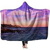 L.R.D Mantas cálidas con Capucha Playa Sunset Stone Beach en Estepona Manta Ligera de vellón 60'x50'