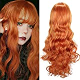 ColorfulPanda 80cm peluca larga naranja cosplay anime mujer pelo largo rizado ondulado onda peluca sintética diaria fiesta