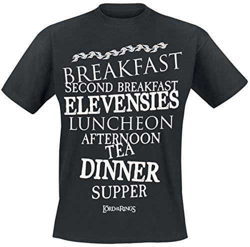 Herr der Ringe Hobbit Meals Männer T-Shirt schwarz L 100{44ff065ee85958c10ac41b5af62a97956cf3f2d1e2792cffe3779cba55615592} Baumwolle Fan-Merch, Film