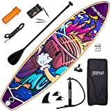 FAYEAN Inflatable Stand Up Paddle Board Round Board Includes Pump, Paddle, Backpack, Coil Leash,Fin and Universal Waterproof Case (Microphone)