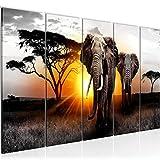 Runa Art Cuadro XXL África Elefante 200 x 80 cm Gris Naranja 5 Piezas - Made in Germany - 007655a