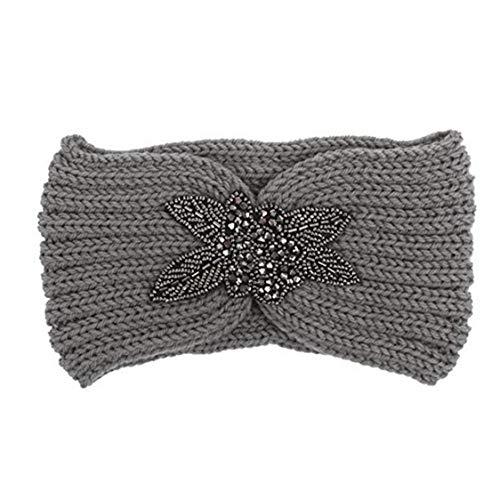 ZYCX123 Ganchillo de Las Mujeres Que Hacen Punto del Turbante Cinta de Cabeza Caliente voluminosos Ganchillo de Headwrap Banda para el Cabello Accesorios Gris