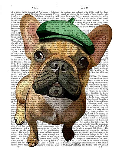 Feeling at home CANVAS-FRAMED-with-AMERICAN-BOX-Brown-French-Bulldog-with-Green-Hat-Animals-wall-decore-on-wood-frame-Vertical-27x21_in
