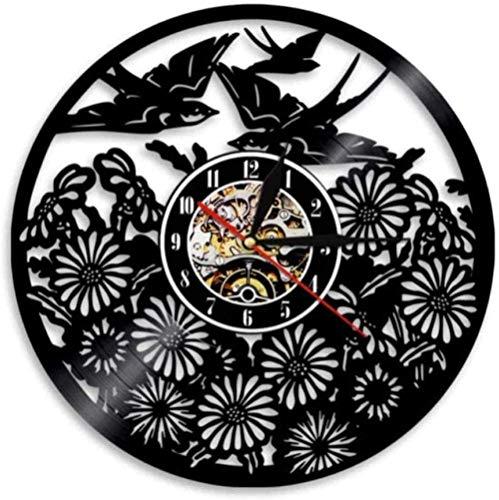 Rekord Wanduhr Flying Bird Vintage Vogel Blume Wandkunst Vinyl Rhodos Uhr Spring Bird Home Decoration Tier Retro 30 × 3