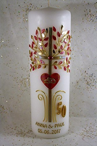 Hochzeitskerze GH-35 zur goldenen Hochzeit in vers. Farben inkl. Namen und Datum