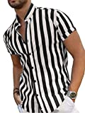 Camisa Casual de Manga Corta de Verano para Hombre Top Suelto con Cuello Alto Estampado a Rayas de Moda (Raya Blanca Negra, M)