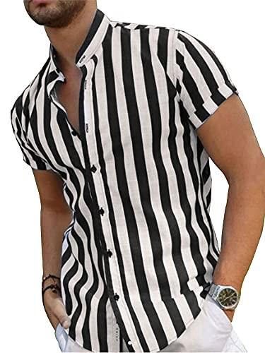 Camisa Casual de Manga Corta de Verano para Hombre Top Suelto con Cuello Alto Estampado a Rayas de Moda (Raya Blanca Negra, L)