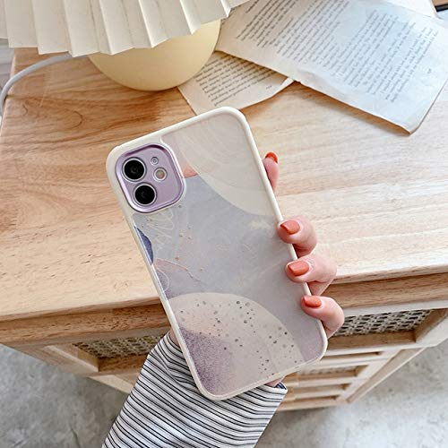 VHR Fundas Cute Love Heart Flower Leaf Phone Case para iPhone 12 11 Pro MAX 12 Mini 8 7 Plus X XS MAX XR Marble Wartercolor Painting Cover para iPhone X O XS T9