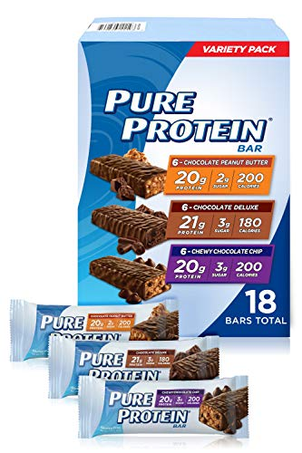 Pure Protein Bars High Protein Nutritious Snacks to Support Energy Low Sugar Gluten Free Variety Pack 176oz 18 Pack