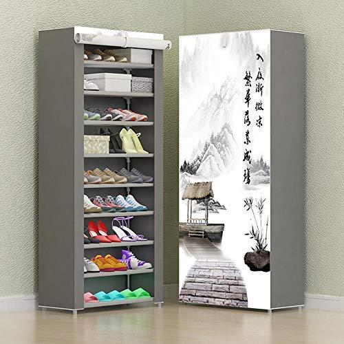 Gabinete de zapatos de combinaci¨n Zapatos de almacenamiento de tela no tejida Zapato plegable a prueba de st O para zapatos-Vino tinto