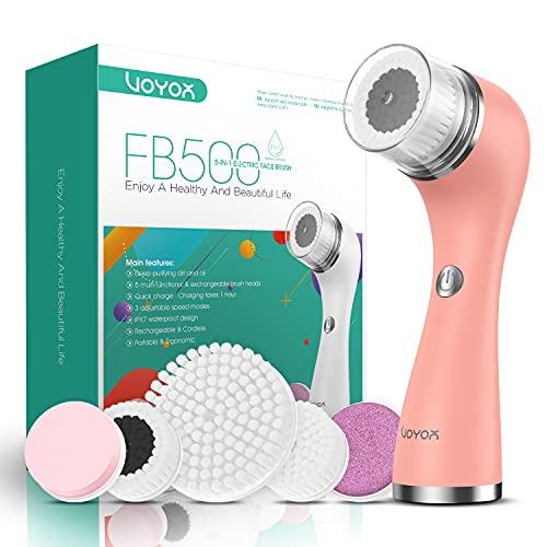 VOYOR 5 En 1 Recargable Cepillo Limpiador Facial Electrico Limpieza Facial Minimizador de Poros Removedor de Piel Muerta Cepillo Removedor...