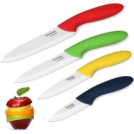 Knendet Ensemble de 4 Couteaux Chef de Cuisine Céramique Multicolores avec Lame Professionnelle Ultra Tranchante, Résistante aux Taches et Gaines Étuis pour la Préparation des Légumes, Fruits et Pain