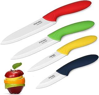 Knendet Ensemble de 4 Couteaux Chef de Cuisine Céramique Multicolores avec Lame Professionnelle Ultra Tranchante, Résistan...