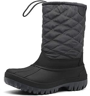 FULORIS Winter Snow Boots Drawstring Waterproof Non-Slip Fur Warm Lightweight for Outdoor Anti-Skid Rubber Sole
