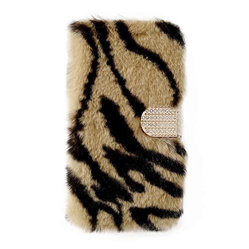 Miagon Plüsch Hülle für iPhone 11,Flip PU Leder Hülle mit Diamant Buckle Kartenfächern Stand Warmer Winter Pelzig Brieftasche Schutzhülle,Zebra Braun
