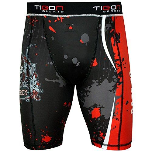 Tigon MMA Short de compression Couche de base Course Exercice Boxe Entraînement Fitness (Taille L)