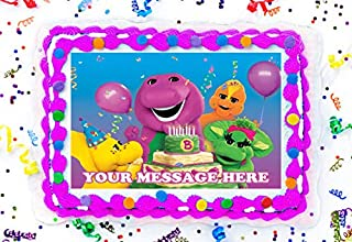 Barney Cake Topper Edible Image Personalized Cupcakes Frosting Sugar Sheet (8