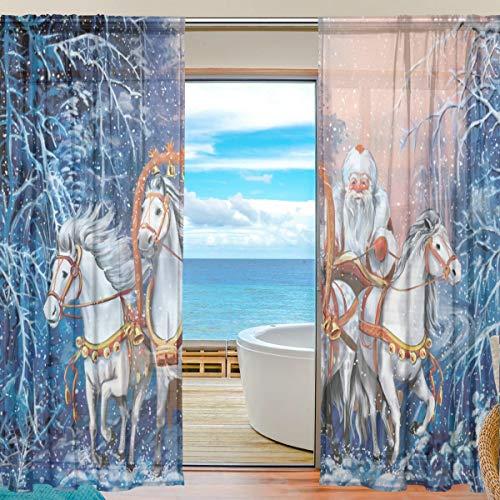 TIZORAX Gardinen mit russischen Pferden und Weihnachtsmann, durchscheinend, Poly-Leinen-Voile-Vorhang mit Stangentasche, Gaze-Vorhänge für Wohnzimmer, Schlafzimmer, 139,7 cm B x 198,1 cm L, 2 Bahnen