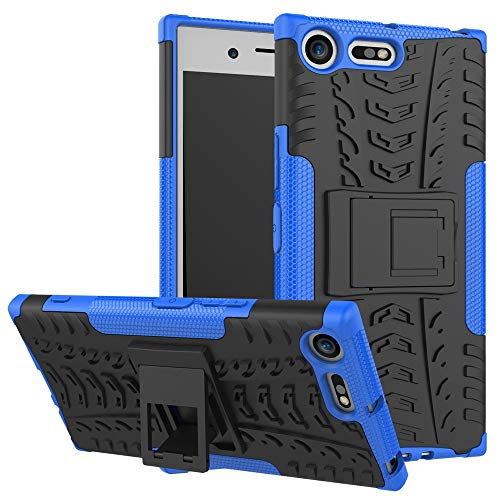 pinlu Funda para Sony Xperia XZ Premium Smartphone Doble Capa Híbrida Armadura Silicona TPU + PC Armor Heavy Duty Case Duradero Protección Neumáticos Patrón Azul