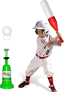 Baseball Tee Ball Set Toy for Kids Toddlers Boys Girls - T Ball Set Game Includes Training Semi Automatic Baseball Launcher and 3 Ball - Improves Batting Skills for Boys & Girls Age 2-12 Yrs Old