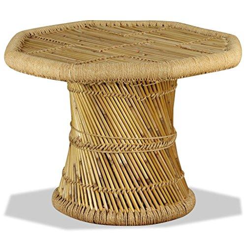 vidaXL Mesa Centro Octagonal 60x60x45 cm Bambú Mesita Mesilla Mueble Auxiliar