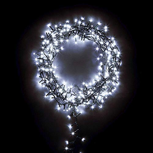 The Winter Workshop 1000 LED Compact Cluster Lights for 7ft Christmas Tree - Indoor & Outdoor Garden Party Wedding Event Multi Function Timer Megabrights - Cool White