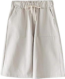 Women Casual Elastic Waist Drawstring Wide Leg Soft Bermuda Shorts with Pockets