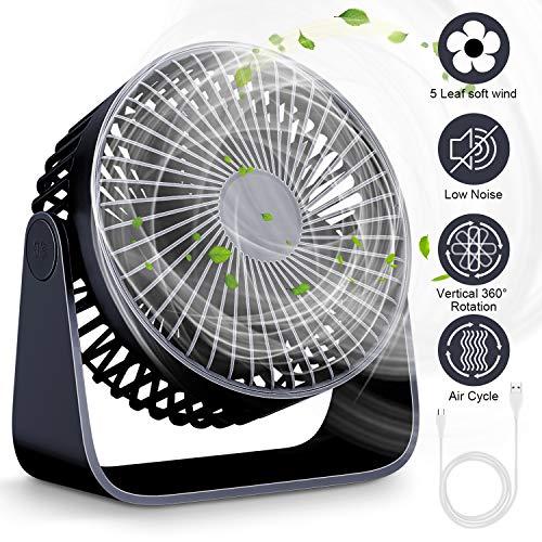 Mini Ventilatore da Tavolo Silenzioso, Ventilatore Portatile USB con 3 Velocità Regolabile, Ventilatore PC Portatile 360 per Scrivania,Auto, casa Ufficio,Viaggiare(blu)