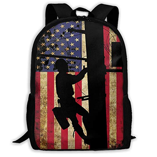 Rucksack mit amerikanischer Flagge, elektrisches Kabel, Schulgeschenk, leicht, große Kapazität, lässig, bedruckt, für Erwachsene, Unisex