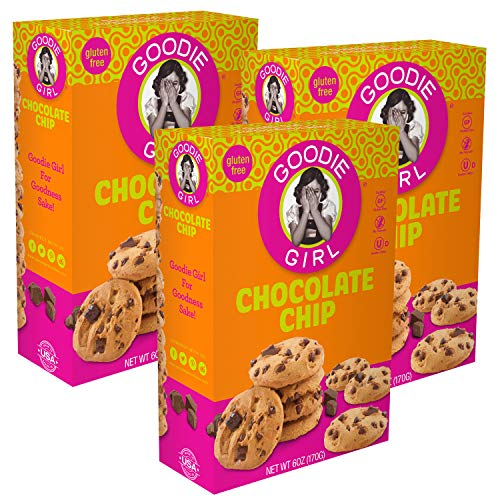 Goodie Girl Gluten Free Cookies, Chocolate Chip Cookies, Certified Gluten Free, Dairy Free, Peanut Free and Kosher (6oz Boxes, Pack of 3)