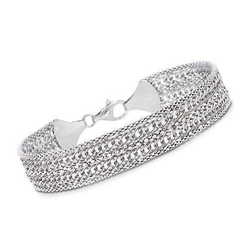 Ross-Simons Italian Sterling Silver Popcorn Chain and Curb-Link Bracelet