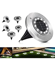 Solar Ground Lights 12 LED Garden Solar Lights Outdoor Pathway Solar Disk Lights Landscape Lighting Waterproof for Lawn Pathway Patio Yard Deck Driveway Walkway-White (6 Pack)