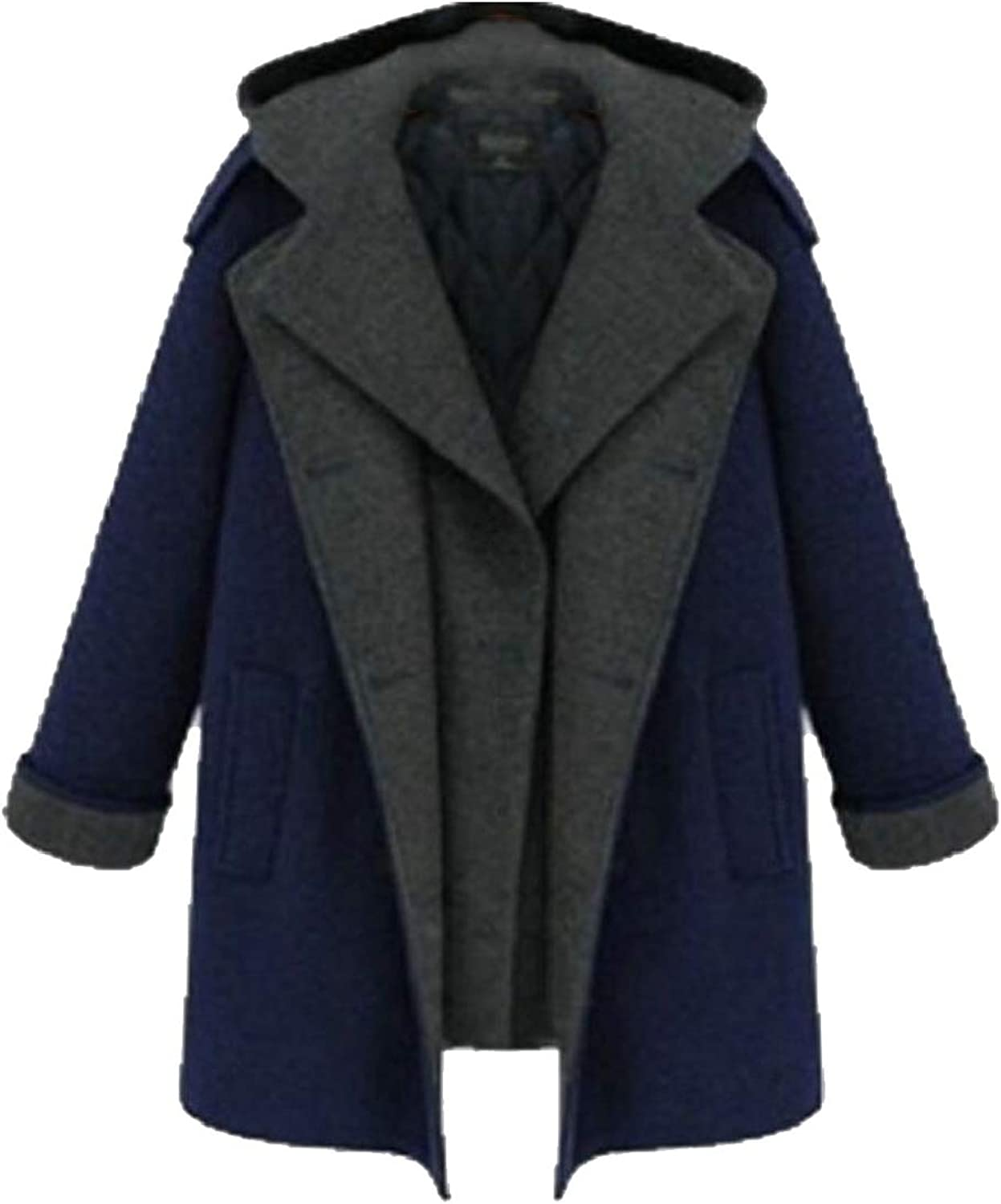 QDCACA Womens Fake Two DoubleBreasted Thicken Woolen Coat Outwear Overcoat