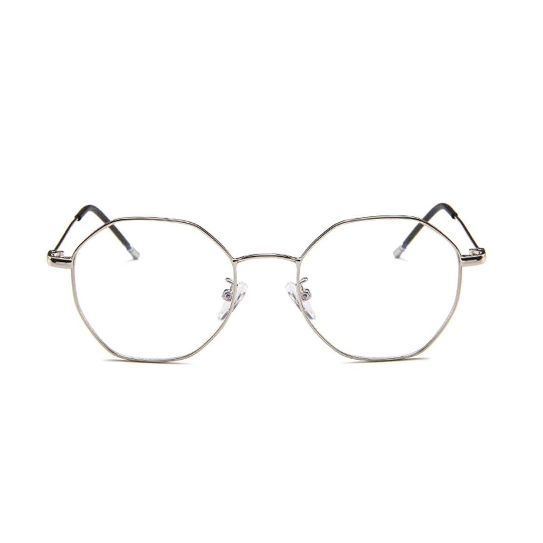 させる読みやすさ大きさファッションメガネ近視多角形フレーム韓国語版金属フレーム男性と女性のための不規則なフラットグラス-スライバー