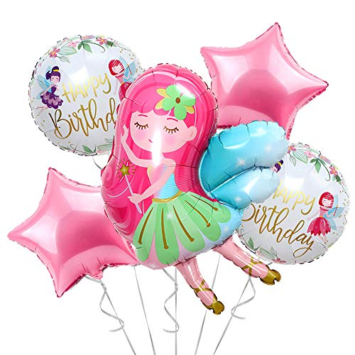 Fairy Princess Party Decorations Balloons for Birthday Party | Perfect Floral Wonderland Fairies Themed Mylar Foil Helium Balloon Decor | Magical Fairy Tale Balloon Set for Girls in Pink & White