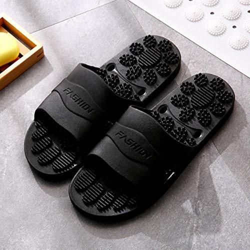 quming Zapatillas de Ducha Verano,Zapatillas de baño Antideslizantes de Suela Blanda, Sandalias de Masaje Que gotean-Negro_42-43