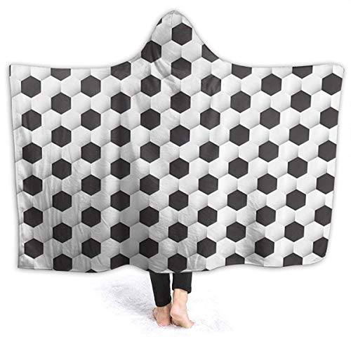 Sports Soccer Ball Geometric Pattern Micro Flannel Wearable Hooded Throw Blankets Lightweight Super Soft Fleece Bed Blanket Fit Couch Suitable for All Season