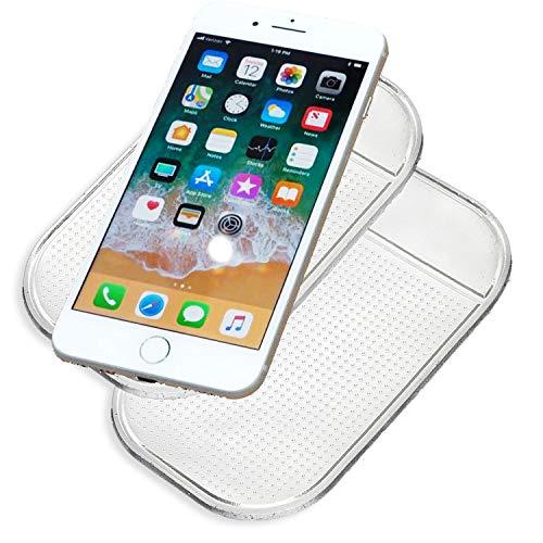 JATrade 2er Set Handy Smartphone Auto Halterung Premium Antirutschmatte mit starker Haftung KlebeMatte Haftmatte Armaturenbrett Kompatibel mit iPhone, Galaxy u. Anderen Smartphones usw. - Transparent