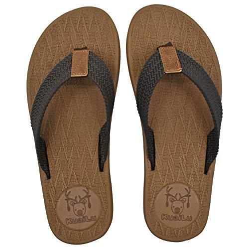 KuaiLu Tongs en Mousse pour Hommes Sandales en Cuir Non...