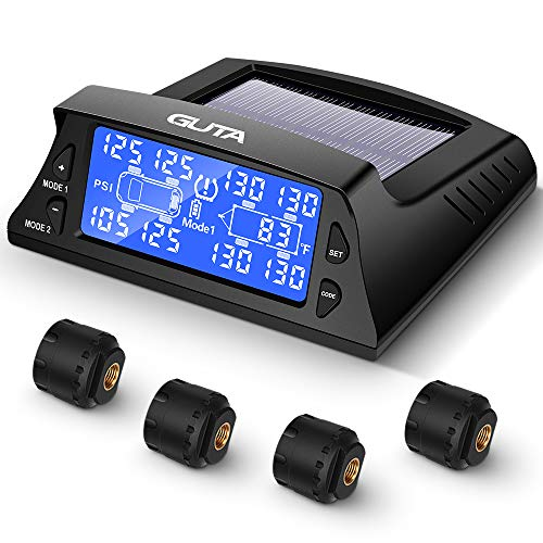 GUTA Tire Pressure Monitoring System - 4 External Sensors (0-188 PSI) TPMS, 6 Alarm Modes, High-end Backlight LCD Display, Automatic Sleep Mode, Can Monitor up to 8-10 Tires