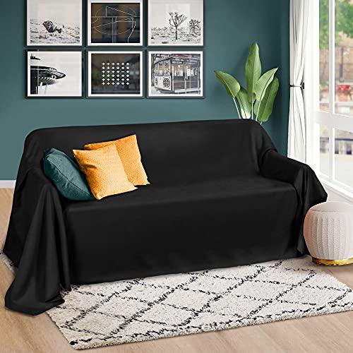 Beautissu Romantica Tagesdecke 210x280 cm - Wildleder-Optik Überdecke als Bettüberwurf & Sofaüberwurf Decke - Große Tagesdecken für Bett & Couch - Überwurfdecke in Schwarz