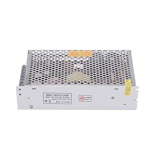 Docooler Transformateur de Tension 10A, 240W, AC 110V / 220V à 24V DC 10A pour Bande de LED