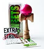 Sweets Kendamas Prime Radar Kendama - Sticky Paint, Perfect for Beginners, Extra String Gift Bundle (Pink)