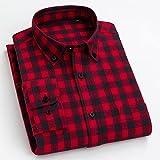 Camisas Hombres,Camisa A Cuadros De Algodón Camisas Casuales Camisas Clásicas A Cuadros Negro Rojo para Hombre Camisas Regulares con Botones De Bolsillo Tops Padre Novio, M